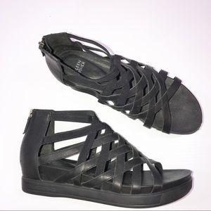 Eileen Fisher Black Leather Gladiator Sandals 10